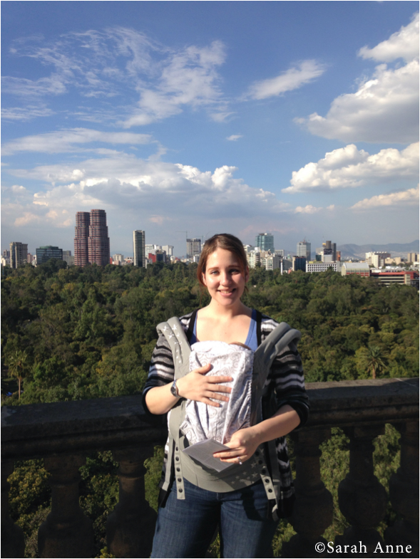 Babywearing in Mexico City is so much easier than a stroller, even in summer!