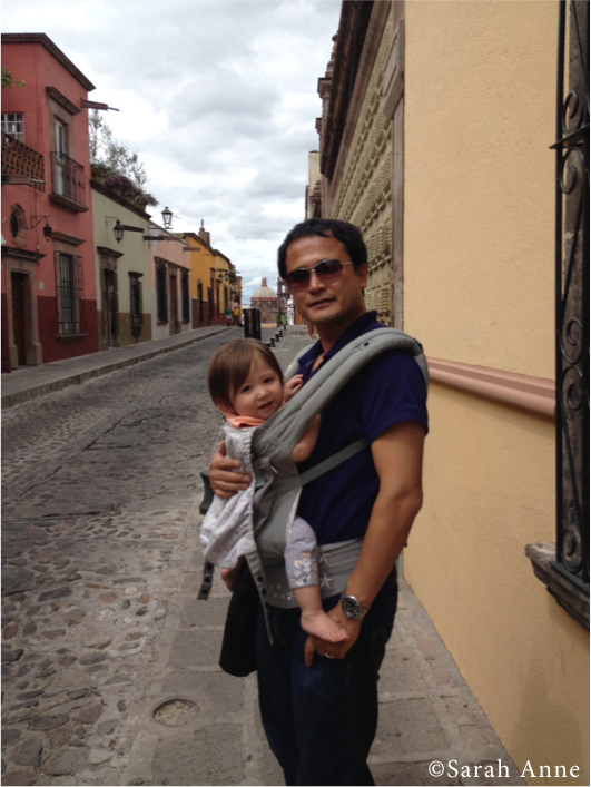 Hydrate frequently while baby wearing, reduce layers too! No socks was the way to go in San Miguel de Allende, Mexico